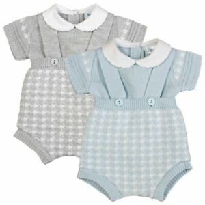 Baby Boy Spanish Style Knitted Braces Dunagree Shorts Jam Pants Top Outfit Set