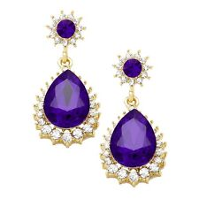 Purple Diamante Earrings Sparkly Bling Violet Prom Party Bridal Dangly 0388