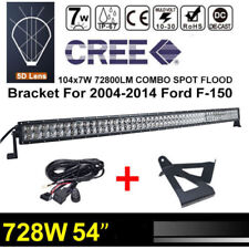 """Curved 728W 54inch 56"""" LED Light Bar JEEP F+Bracket For 04-14 Ford F-150+Wire"""