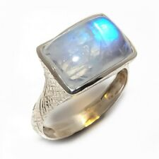 Rainbow Moonstone Natural Gemstone Ethnic 925 Sterling Silver Ring Size 8 SR-144