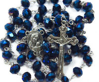 Deep Blue Crystal Beads Rosary Catholic Necklace Holy Soil Medal Cross Crucifix