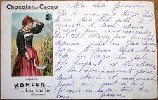 1902 Swiss Chocolate Advertising Postcard: Chocolat et Cacao Kohler - Lausanne