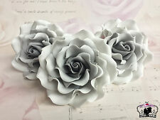 "Grey ombre 4"",sugar paste rose flower handmade, cake topper, wedding, edible"