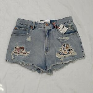 Garage Festival High Rise Relaxed fit  distressed Denim Jean Shorts Size 3 NWT