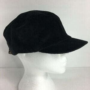 NEW Women's Corduroy Cadet Style Cap Hat One Size Black