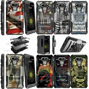 For LG G6 H870 2017 Double Layer Kickstand Holster Clip Case Animals & Skulls