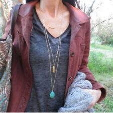Fashion Women Jewelry Turquoise Pendant Choker Statement Bib Necklace Long Chain