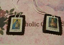 2 inch Brown Wool Scapular (H) -  Our Lady of Mt Carmel + Sacred Heart Jesus