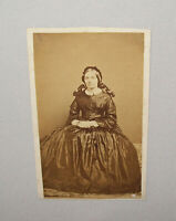 Old Antique Vtg 1860s CDV Photograph Civil War Era Young Woman Nice Dress Seated