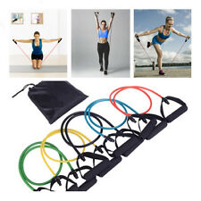 Resistance Bands Sets Yoga Pilates Abs Exercise Fitness Workout Tube With Handle