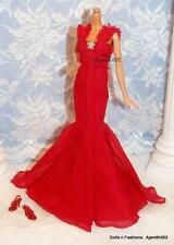 Top Model Muse SilkStone Barbie Doll Gorgeous Red Chiffon Gown & Shoes Only ajs