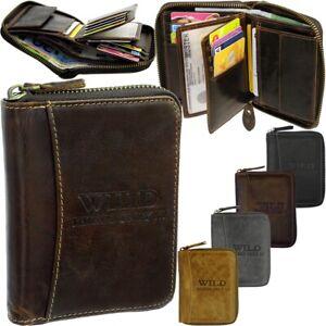 Damen Herren Leder Brieftasche Geldbeutel Portemonnaie Reißverschluss Geldbörse