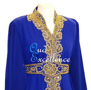 Deep Blue Farasha with Detailed Gem Work - Size 10-16 - Maxi Dress Abaya Dubai