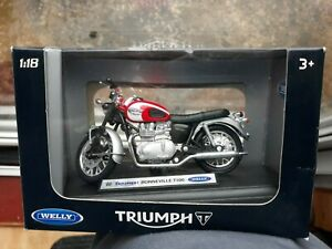 TRIUMPH BONNEVILLE T100 Motorcycle 1/18 Diecast 5in Welly Model New SEALED BOXED