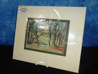 Vintage coloured ART PRINT c1930 Continental house seen through wood or forest