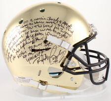 RUDY RUETTIGER SIGNED NOTRE DAME CHROME HELMET W/ MOVIE QUOTE SPEECH JSA WITNESS