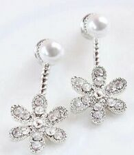 Crystal Pearl Flower Ear Jacket stud earrings