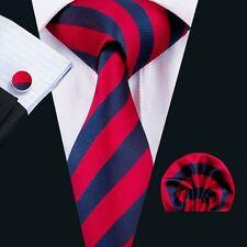 SN-1575 Mens Tie Classic Red Striped Silk Necktie Hanky Cufflinks Wedding Party