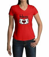 Disney Couple Mickey Mouse Hand Hers Love Tee Womens Juniors V-Neck T-Shirt S~2X