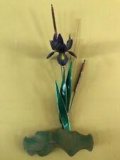 Bovano of Cheshire Purple Iris Flower Metal Wall Art Decor Sculpture