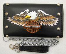 """Harley Davidson Trifold 7.5"""" Leather Biker Trucker Chain Safety Wallet Handmade"""