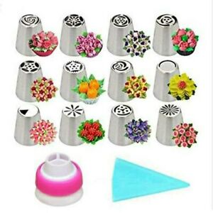 14Pcs Icing Russian Piping Nozzles Flower Cake Decorating Tips Pastry Tools Kit