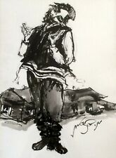 MOSHE BERNSTEIN (1920-2006), Large Ink on Paper, Jew in The Shtetl, Signed,Nice