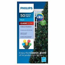 Philips 50 ct LED Smooth Sphere String Lights Multi Color ClassicGlow Green Wire
