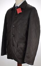 Isaia Leather Brown Jacket, Rare Nutria Fur Removable Lining Retail $5,995.00
