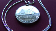 "1587-1987 CANADA Proof SILVER DOLLAR> Pendant & 18k White Gold Filled 24"" Chain"