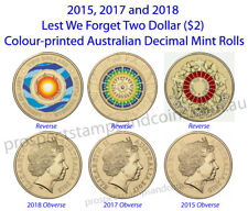 2018,2017 & 2015 Lest We Forget Australian $2 Coloured Coin rolls - 3 Mint Rolls