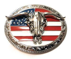 CHR5 WESTERN STEER Cowboy Rodeo Style ✖ Belt Buckle Buck ✖ Chrome/USA Flag Bull