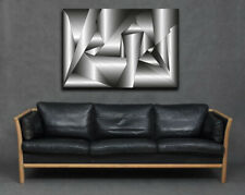 Grey Silver White Modern 3D Tubular Cool Abstract Canvas Print Picture Wall Art