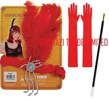 Women's red anni'20 anni 1920 20 3 pc Set Charleston Gatsby costume accessorio