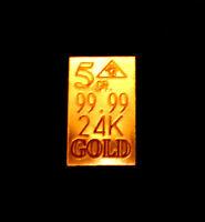 ACB Gold 5GRAIN BULLION MINTED Bars 99.99 fine PURE 24K GOLD $