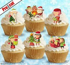 PRE-CUT CHRISTMAS ELVES EDIBLE WAFER PAPER CUP CAKE TOPPERS DECORATIONS