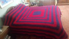 "Reduced Queen Handmade Crocheted Afghan 95"" X 92"" + 3"" Fringe Navy Blue & Red"