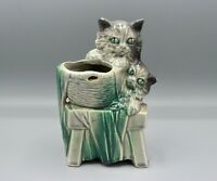 """Vintage McCoy Kittens Cats Playing in Laundry Basket Green & Gray 7"""" Planter"""