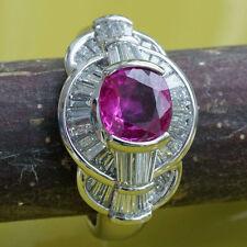 Ring RUBIN fein 1.35 ct Diamant 1.12 ct PLATIN TOPWERTE massiv SW ca.7.253.-EURO