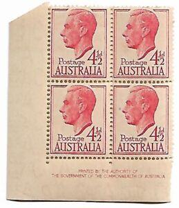 1952 KGV1 4½ d Imprint Block of 4  Stamps MUH/MNH