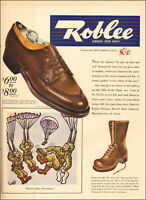 1942  WW2 era AD ROBLEE Shoes for men Paratrooper Boots Syd Hoff Cartoon 101617