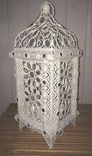 Ivory White Ornate Vintage Jewelled Moroccan Lantern Style Metal Table Lamp