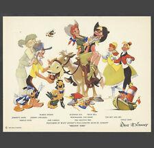 Disney Studios Melody Time Fan Card Donald Jose Pecos Bill and more circa 1948