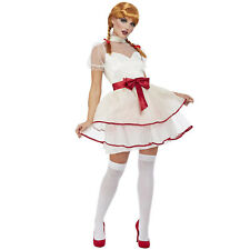 Ladies Annabelle Doll Costume Adult Halloween Creepy Porcelain Fancy Dress Outfi