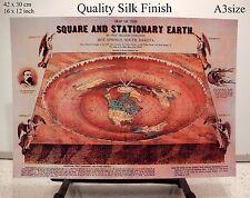 FLAT EARTH - O. Ferguson - Square & Stationary Earth 1893 - World Map (a3 size)