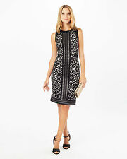 Phase ocho ANESHA Corte Láser Negro Estampado Floral Vestido formal de cambio UK10 PVP £ 120