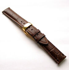 18mm Brown Leather Watch Band Strap With Gold Butterfly Clasp