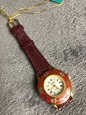 Vintage Ladies Watch Pierre New Red Floral Face Leather Band