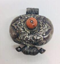 Antique Tibetan Sterling Silver Coral Reliquary Box Pendant