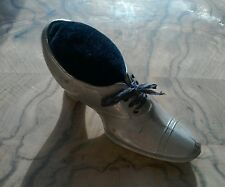 ANTIQUE PEWTER SHOE SHAPED PIN CUSHION